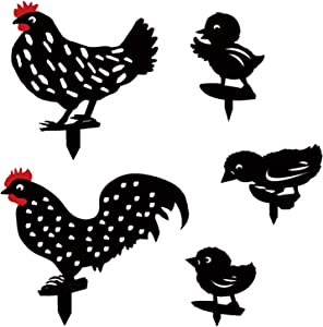 EBaokuup 5PCS Rooster Animal Stakes, Chicken Family Garden Silhouette Yard Art, Chicken Silhouette Statue Decor Rooster Art Decoration for Yard Lawn