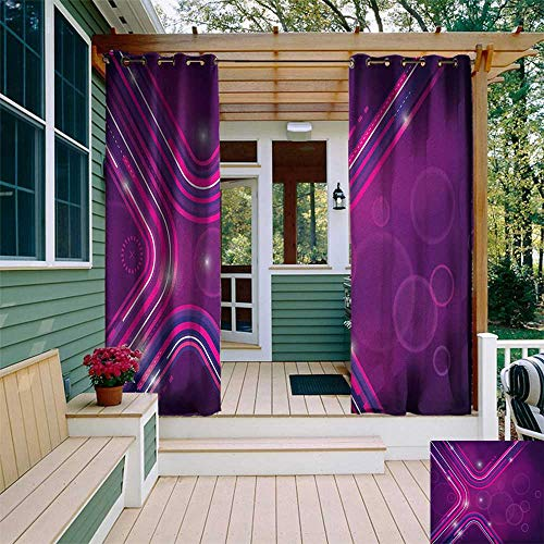 leinuoyi Eggplant, Outdoor Curtain of Lights, Abstract Purple Parallel Lines in a Violet Environment with Transparent Circles, Outdoor Curtain Set for Patio Waterproof W84 x L96 Inch Violet Pink ()