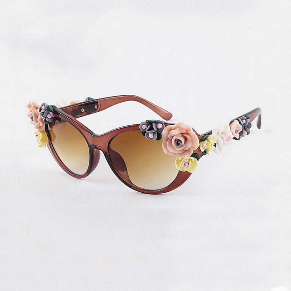 HONEY Lady Vintage Baroque Floral Lunettes de soleil - Summer Glasses - Stereo Rose (Couleur : Tortoiseshell Color) qx4Xp