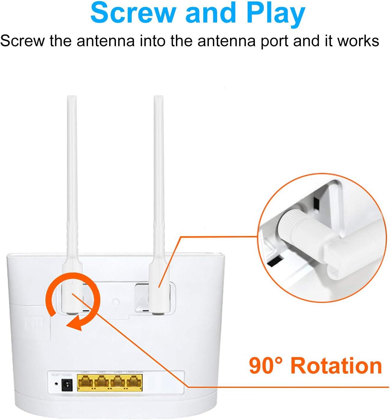 Antena SMA 4G LTE 10dBi RP-SMA Wifi antena 2.4GHz/5.8GHz/3G/4G/GSM omnidireccional amplificador de señal para punto de acceso 4G router tarjeta PCI ...