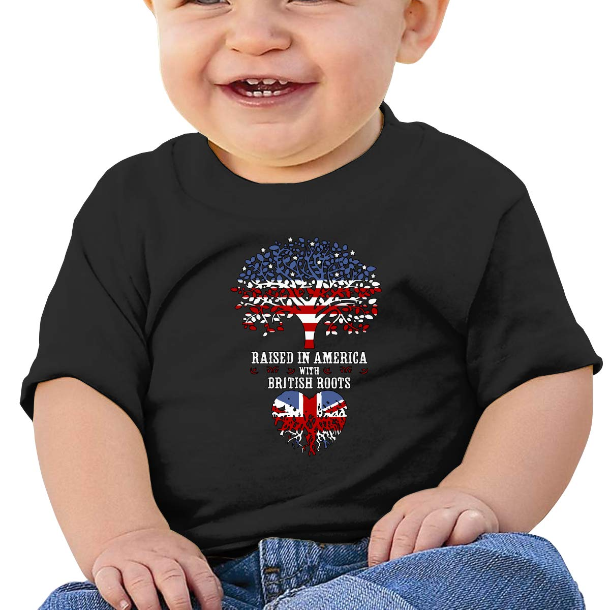 Raised in America with British Roots Baby Boys Girls Short Sleeve Crewneck T-Shirt 6-18 Month Tops
