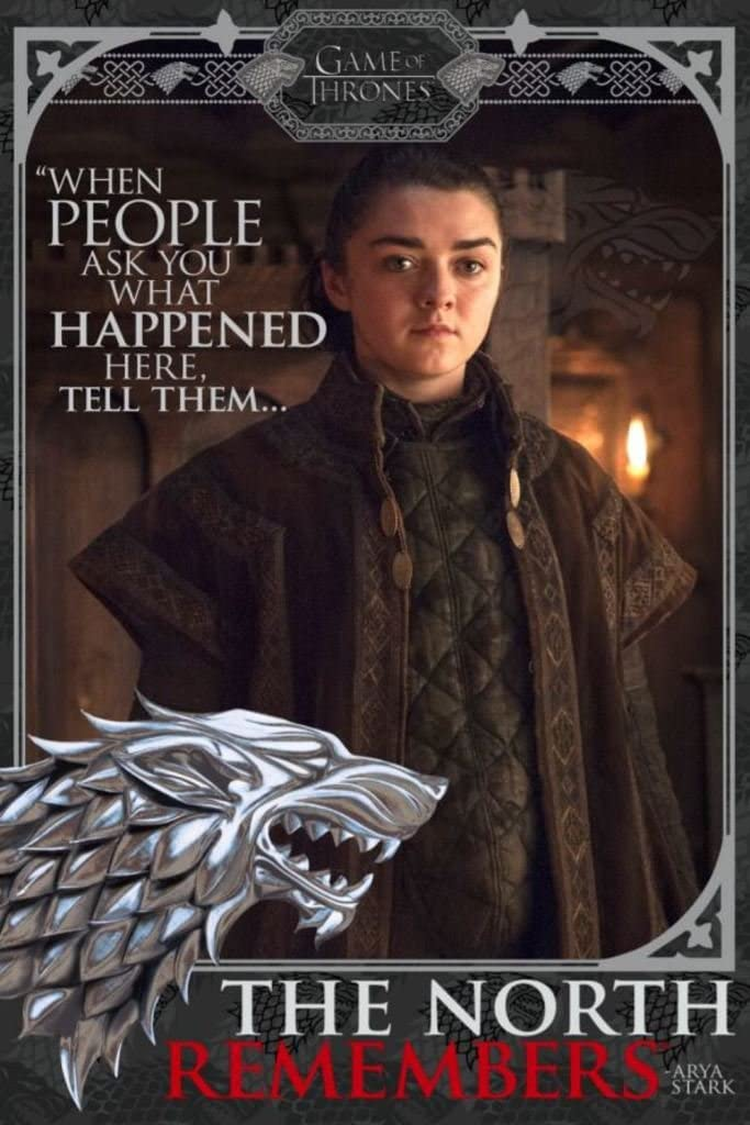 Pyramid America Game of Thrones Arya The North Remembers TV Show Cool Wall Decor Art Print Poster 24x36
