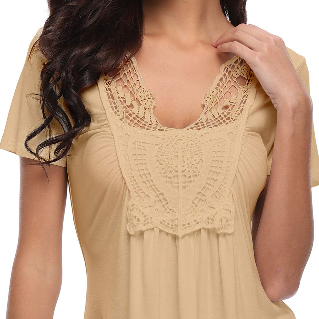 dd63db31218 MISS MOLY Peplum Tops for Women Deep V-Neck Ruched Front Short Sleeve Ruffle  Casual Blouse ...