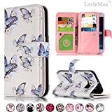 S6 Case,LittleMax Leather Wallet Case [Card Holder] Magnet Stand Case Soft TPU Protective Cover for Galaxy S6 [Screen Protector,Stylus,Cleaning Cloth]-Blue Butterflies For Sale