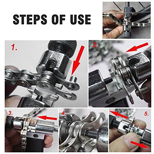 6-Piece Bike Chain Tool Set,Bike Chain Breaker Splitter with Chain Hook|16 in 1 Multi-Function Repair Tool|Chain Wear Indicator Checker|Gear Chain Cleaner Brush Kit,Universal Cycling Kit by Besfurniture (Image #1)
