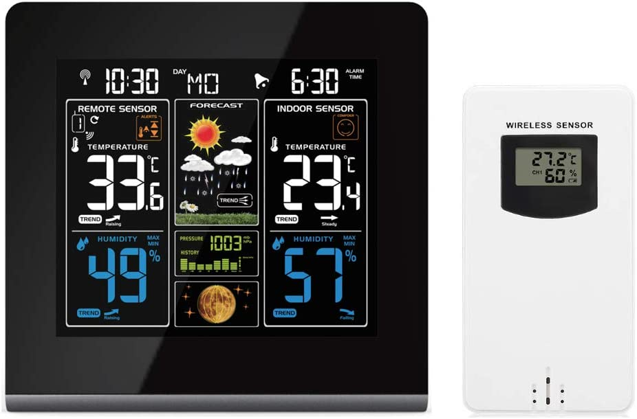 Humidity Monitor ProXenon Color Wireless Weather Station Indoor//Outdoor Thermometer Barometric Pressure Record with USB Charging Port Weather Forecast Alarm Atomic Clock