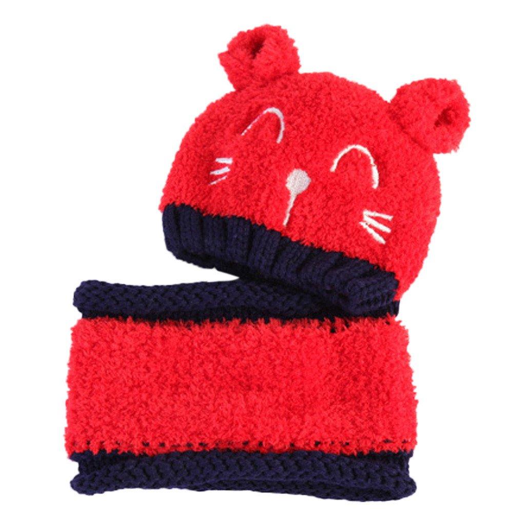 Fossen Invierno 1-3 añ os Bebe Niñ a Niñ o Conjunto de Gorros y Bufanda Gatito de Dibujos Animados Sombrero + Bufanda de Felpa Cuello Redondo