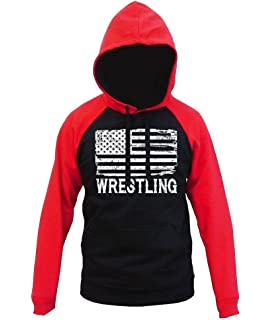 Interstate Apparel Mens Wrestling American Flag Black//Camo Raglan Baseball Sweatshirt Black