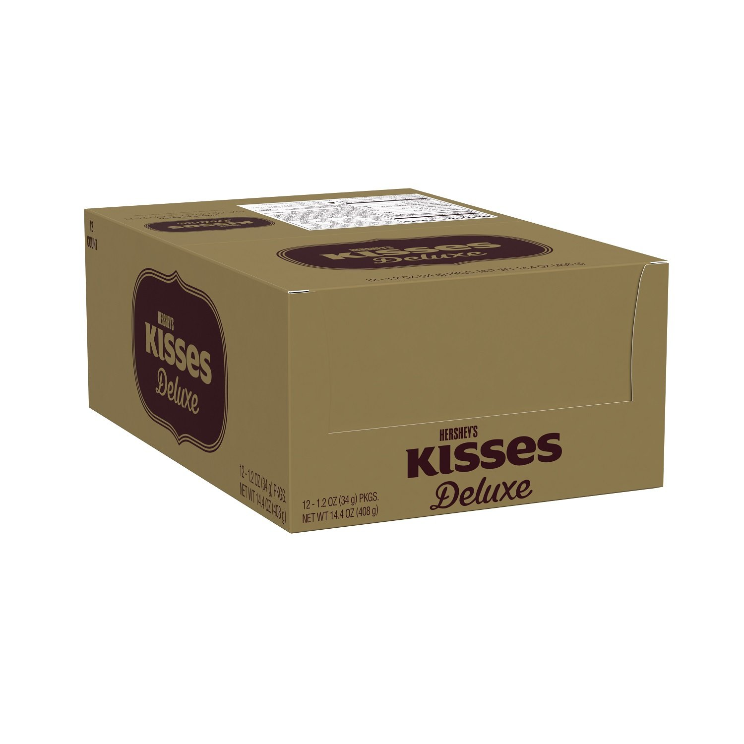 HERSHEYS Kisses Deluxe Box, Chocolate Hazelnut Candy, 35 Count