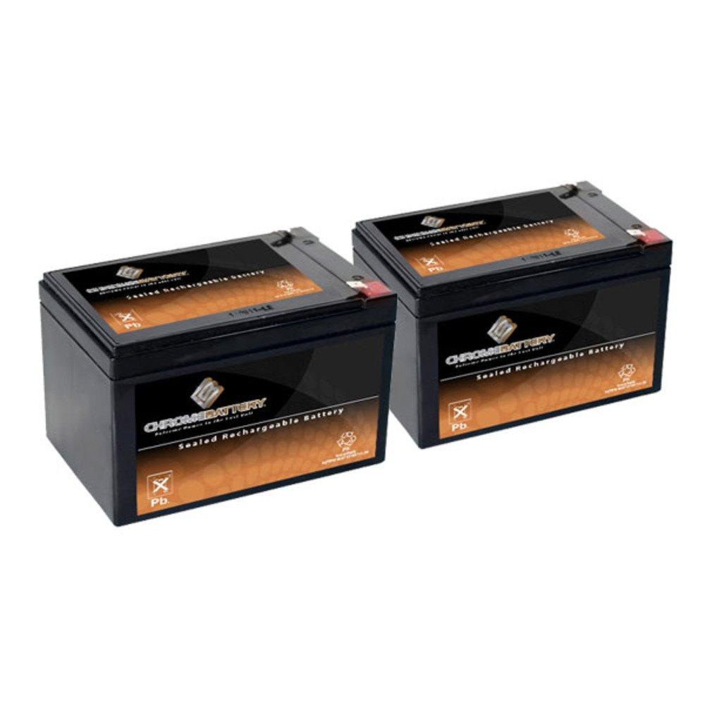 12V 14AH Sealed Lead Acid (SLA) Battery - T2 Terminals - for ZB-12-14 - 2PK Chrome Battery SLA-12V-14AH-T2