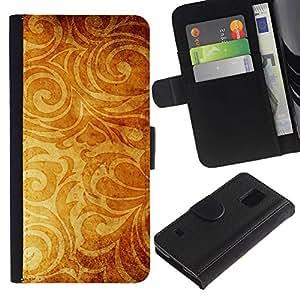 KingStore / Leather Etui en cuir / Samsung Galaxy S5 V SM-G900 / Papel pintado de oro de Brown Planta Amarillo