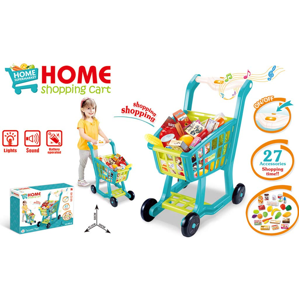 Besde Toys Children's Shopping Cart Toy Pretend Play Toy, Simulation Supermarket Toy with Groceries, Mini Shopping Cart with Full Grocery Food Toy Playset Educational Gift for Girls Kids (Blue) by Besde Toys (Image #6)