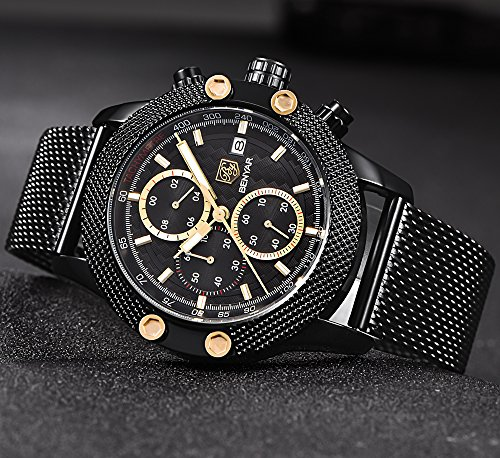 BENYAR-Watches-Mens-Sport-Watch-Waterproof-Date-Quartz-Wrist-Watch-in-Black-Mesh-belt