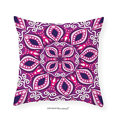 VROSELV Custom Cotton Linen Pillowcase Floral Trippy Flower Motif with Modern Lace Effects and Dots Victorian Swirls Print for Bedroom Living Room Dorm Magenta Pink Plum 18