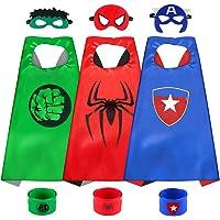 Sinoeem Capa de Superhéroe para Niños - 3 Capa y 3 Máscaras y 3 Slap Pulseras - Ideas Kit de Valor de Cosplay de Diseño…