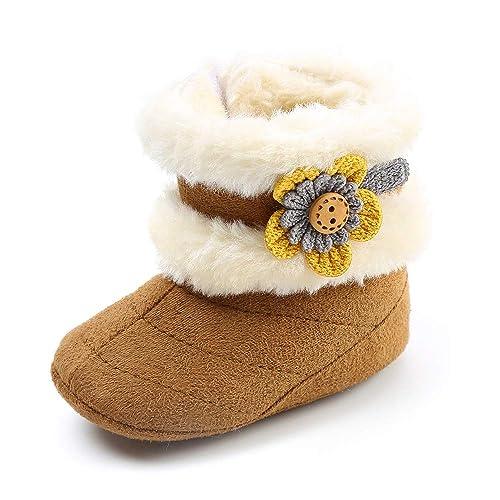 a02c961317cb SOFMUO Baby Girls Boys Plush Snow Boots Soft Sole Anti-Slip Mid Calf Warm  Winter