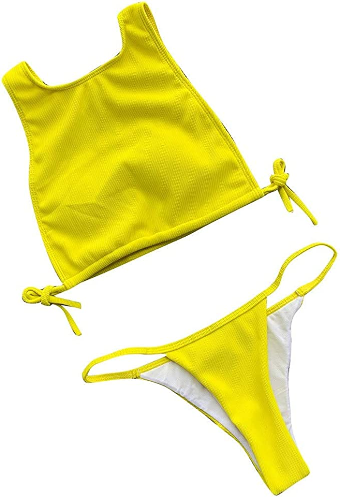 NINGNETI Bikini S/óLido De Talla Grande para Mujer Conjunto Brasile/ñO Traje De Ba/ñO Ropa De Playa Traje De Ba/ñO