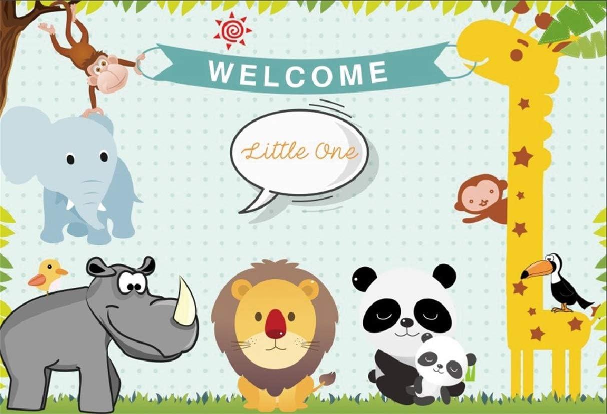 Yeele 10x10ft Happy Birthday Photography Background Cartoon Travel Around The World Panda Giraffe Tortoise Fox Party Decoration Photo Portrait Vinyl Studio Video Shooting Photo Backdrop Wallpaper