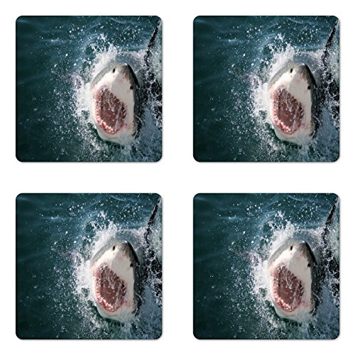 Ambesonne Shark Coaster Set of Four, Wild Animal in The Sea Attacking Showing The Mouth and Teeth Scary Print, Square Hardboard Gloss Coasters for Drinks, Petrol Blue Grey White