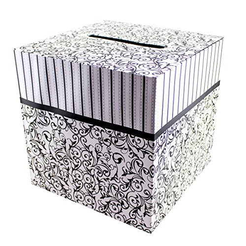 "Black & White Wedding Card Money Gift Box Reception Wishing Well 12""x12"""