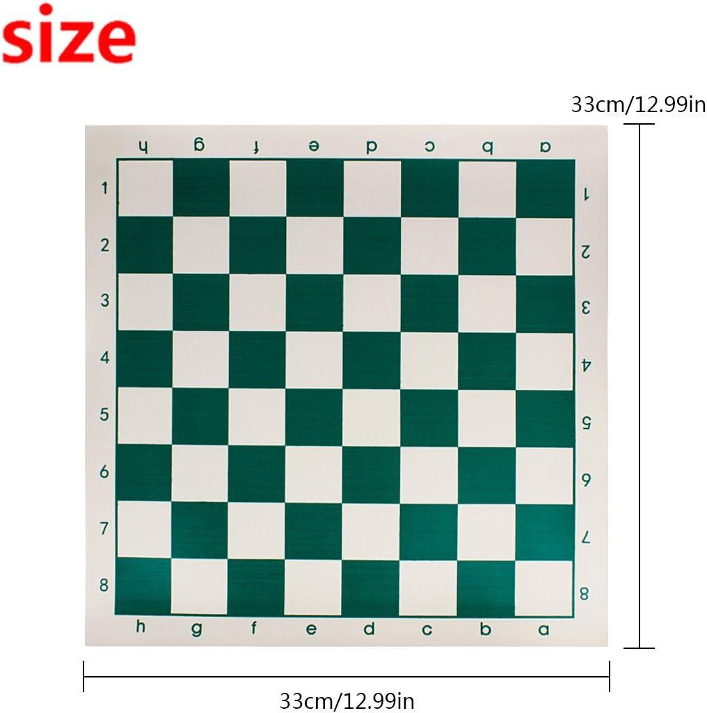 Andux Chess Board Tournament Chess Set Standard Vinyl Roll-up Forest Green//XQQP-01