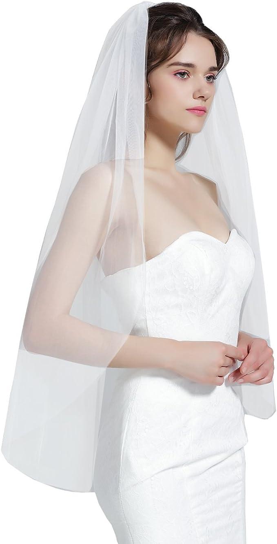 BEAUTELICATE Brautschleier Schleier Schnittkante F/ür Braut Hochzeit 2 Schicht Softt/üll Wei/ß Elfenbein Knie Kapelle L/änge Mit Metall Kamm