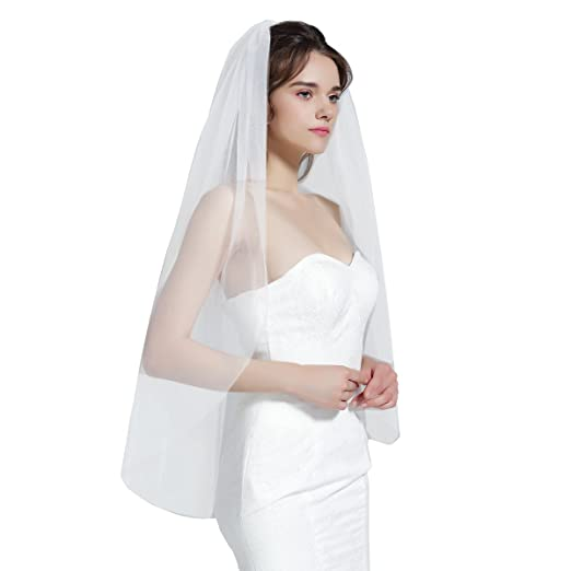 38fe1d0ed Wedding Bridal Veil with Comb 1 Tier Cut Edge Fingertip&Cathedral ...