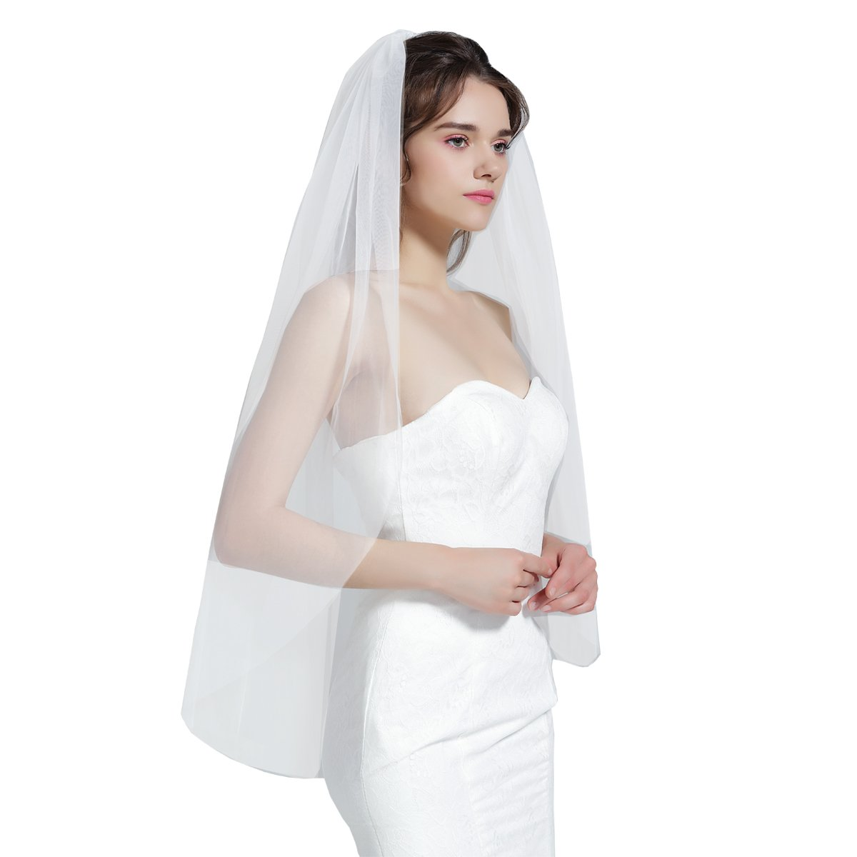 Wedding Bridal Veil with Comb 1 Tier Cut Edge Waltz Length Ivory