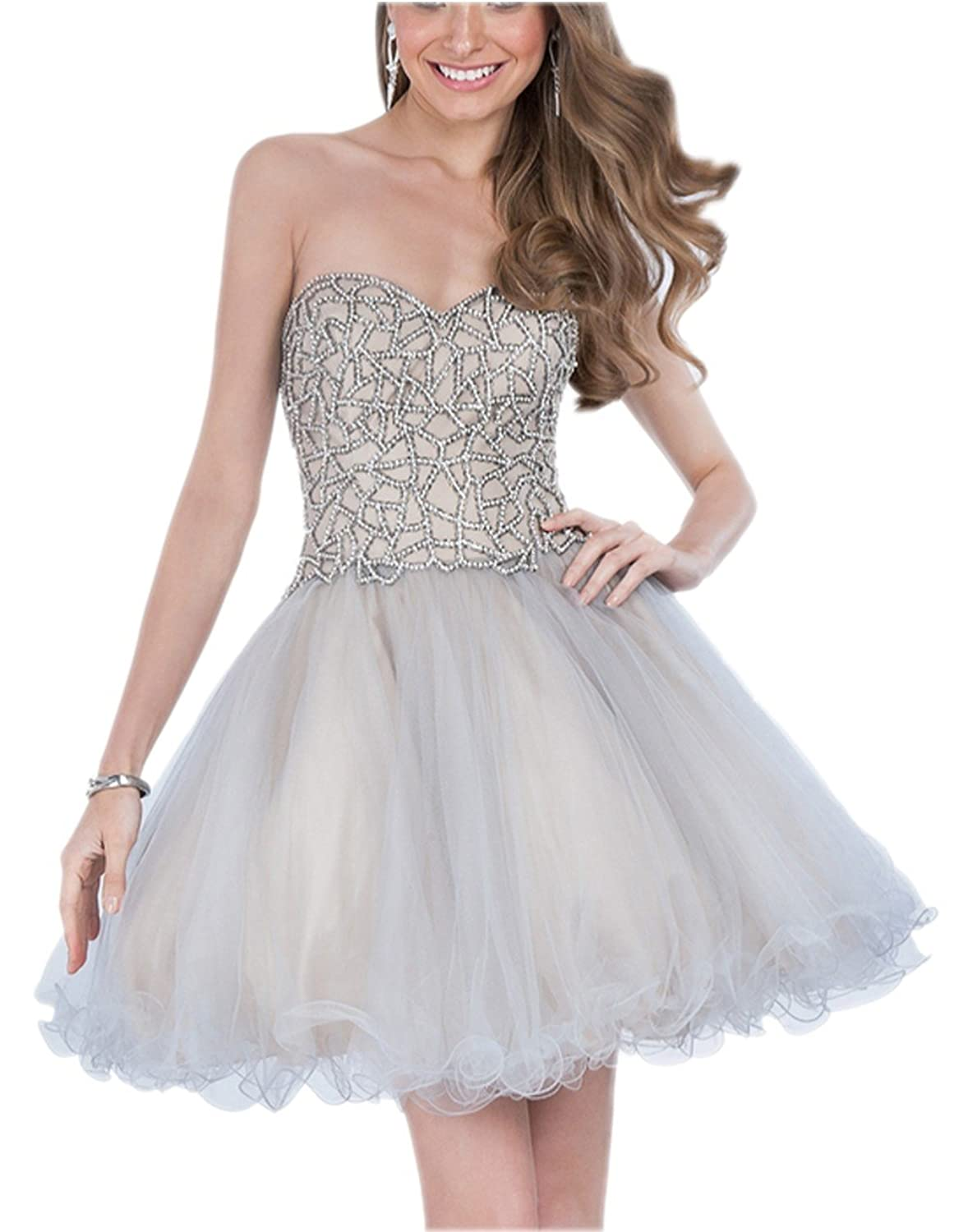 Beading Bodice Girl's Homecoming Dresses Puffy Organza Party Ball Gowns