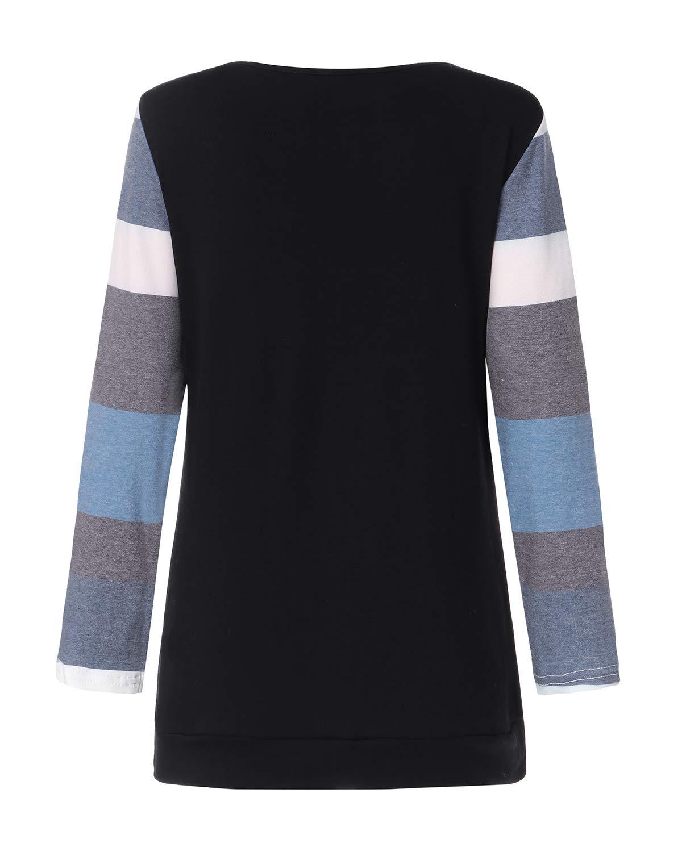 kenoce kvinnors jumper klänning långärmad v-ringad tunika tröja toppar lös lång jumper pullover kausal t-shirt klänning överdimensionerade blusar D-svart