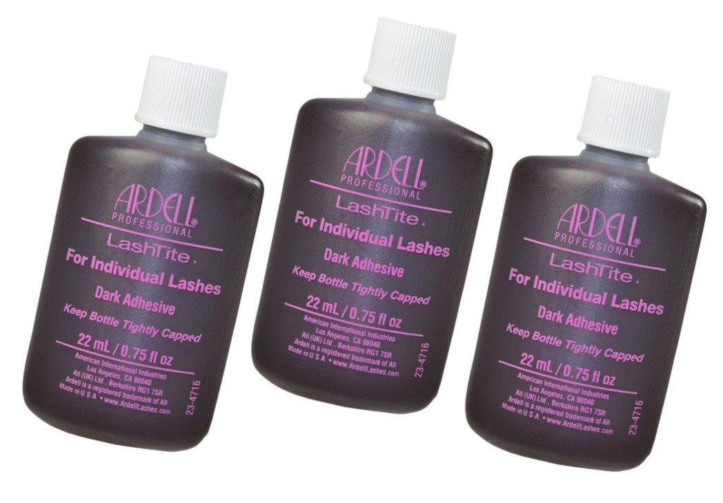 f9dab591b6f Amazon.com : Ardell Lashtite Eyelash Adhesive Glue-Dark For Individual  Lashes USA - Size 0.75 fl oz / 22ml (Pack 3) : Beauty
