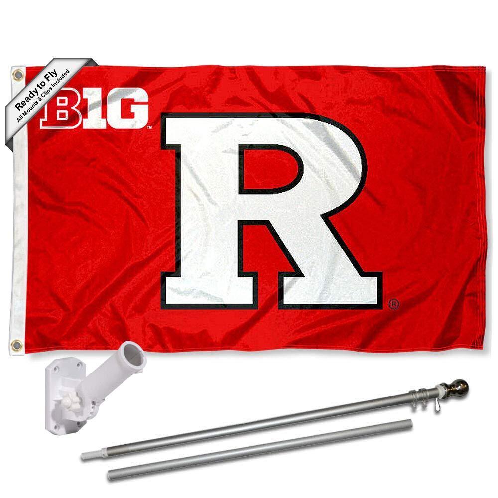 Rutgers スカーレットナイツ ビッグテンフラッグ ポールとブラケット付き コンプリートセット