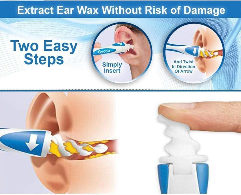 Anikigu Ohrenreiniger Spiralohr-Ohrenschmalz-Entferner Ohrenschmalz-Entferner mit 16 St/ück Ersatzk/öpfen Soft Safe Silikon