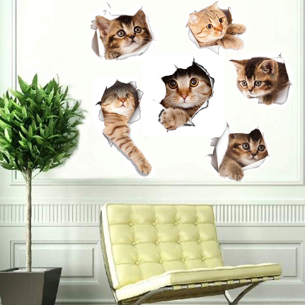 6PCS 3D Wall Stickers Cats Self Adhesive Kids Wall Decals//Removable Vinyl Art Murals for Living Room Baby Rooms Bedroom Toilet House Wall DIY Decoration