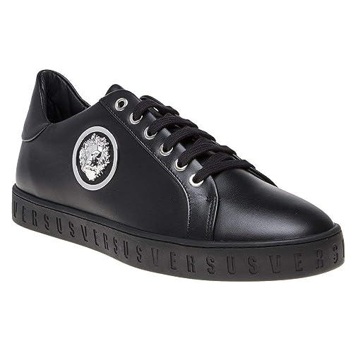 Versace Collection Logo Formal Uomo Sneaker Nero: Amazon.it ...
