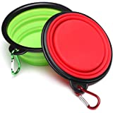 Pet Bowl,BeiYoYo 2Pack Pieghevole leggero da viaggio Fornitori Alimentare Cibo per cane Gatto Acqua Bowl Portatile Espandibile Tazza Piatto Pieghevole silicone Nutrire ciotole Piccolo (M, Rosso + Verde)