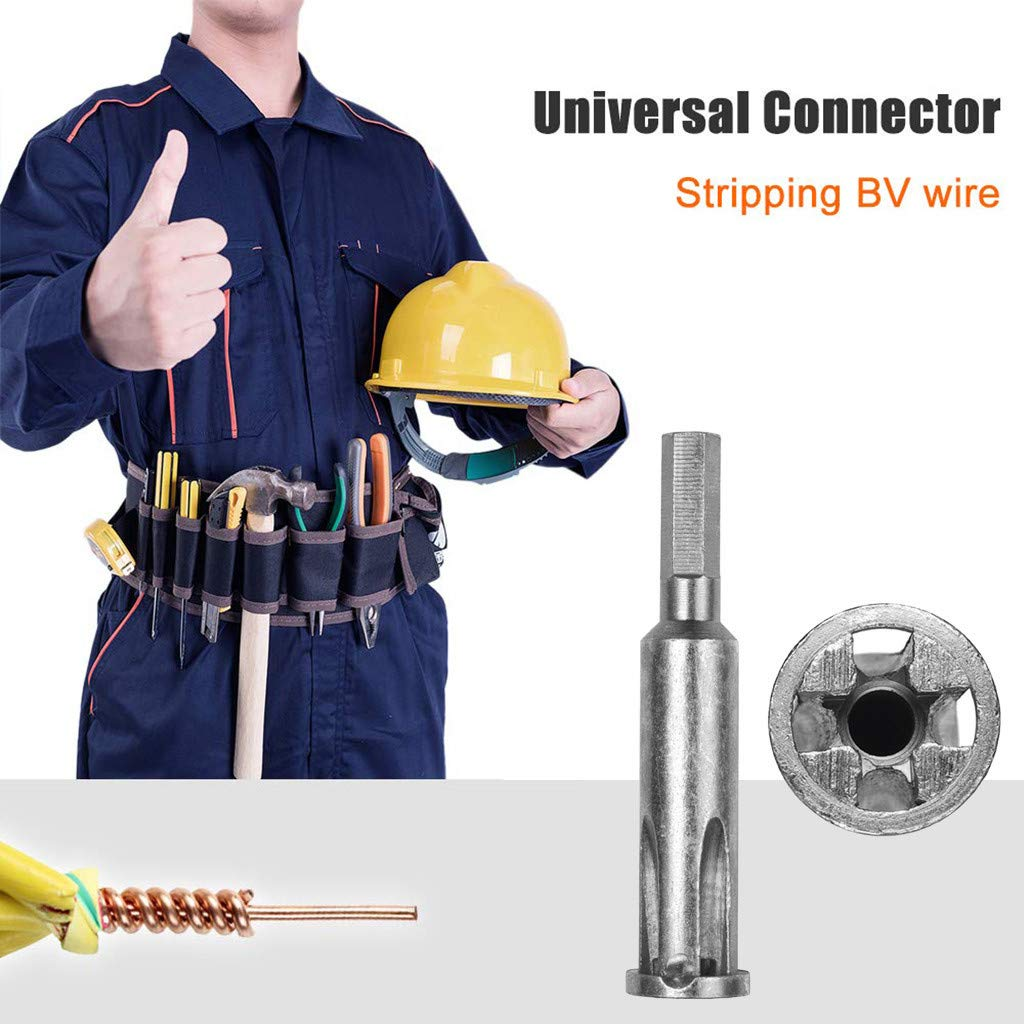 Onefa Wire Twisting Safe Accessory, 5-Hole Electrician Universal Automatic Twisting Wire Stripping and Doubling Steel Cable Twisting Connector Stripper Twister Tool Power Drill Drivers (Silver)