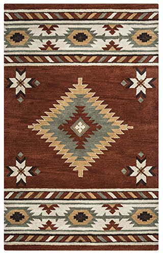 (Rizzy Home Southwest Collection Wool Rust/Khaki/Navy/Sage/Off White Southwest/Tribal Area Rug 5' x)
