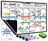 Dry Erase Monthly Calendar Set for Fridge: with Stain Resistant Technology - 4 Fine Tip Markers and Large Magnetic Eraser - Whiteboard Notepad & Grocery List Organizer - Best for Smart Planners