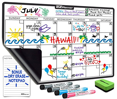 Dry Erase Monthly Calendar Set for Fridge: with Stain Resistant Technology - 4 Fine Tip Markers and Large Magnetic Eraser - Whiteboard Notepad & Grocery List Organizer - Best For Smart (Large Fine Point)
