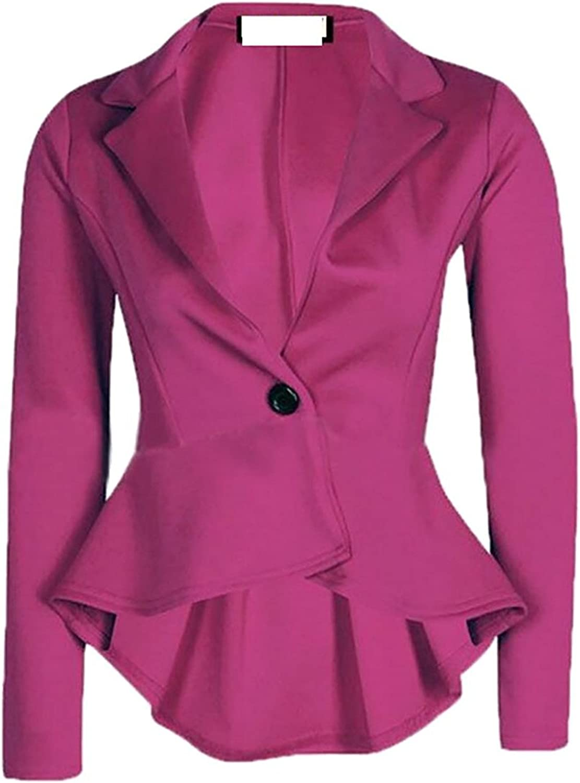 Doris Batchelor Trendy Women One-button Long Sleeve Solid Casual Slim Fit Blazer Jacket