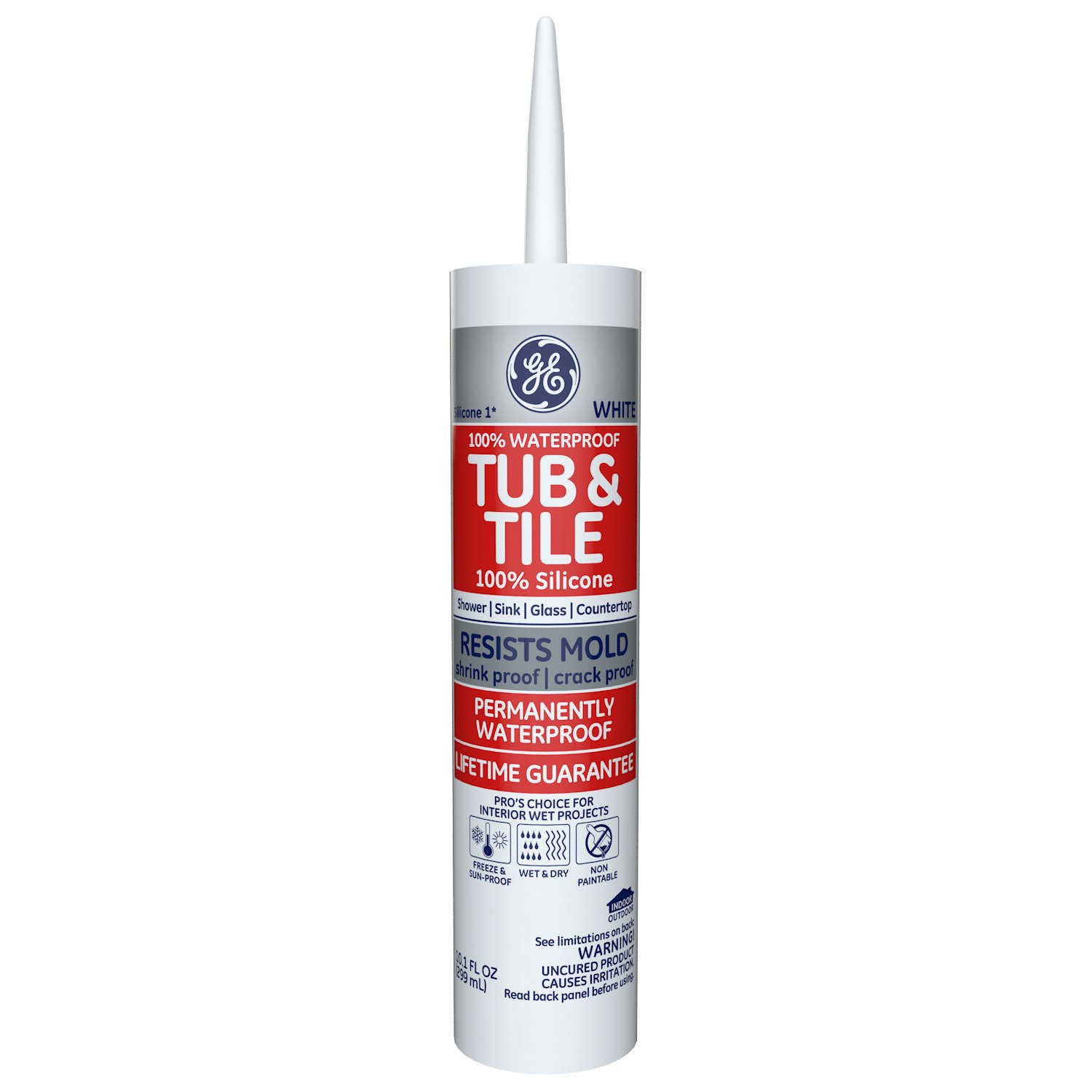 GE GE712 Silicone 1 Tub & Tile Sealant Caulk, 10.1oz, White