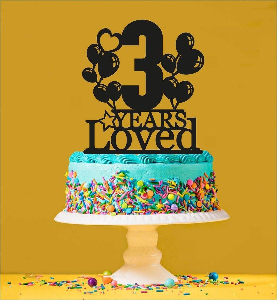 3rd Birthday Loved Cake Topper - 3 Years Old - Third