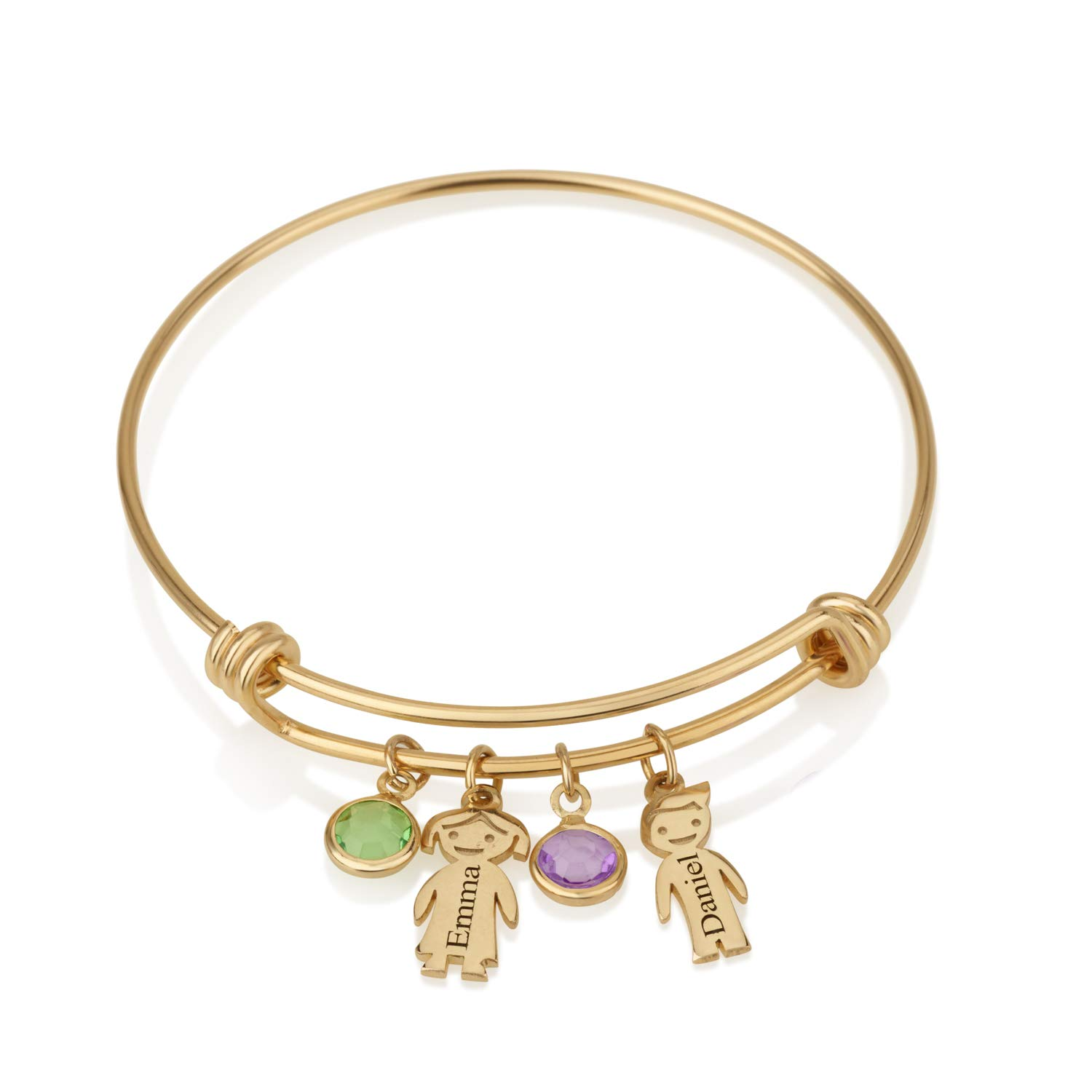 Beleco Jewelry Personalized Children Name Bracelet for Mom with Names and Birthstones Kids Charm Customize Bangle