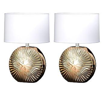 Wohn Schlaf Zimmer Beleuchtung Nacht Tisch Lese Leuchten Lampen Rostbraun//Gold
