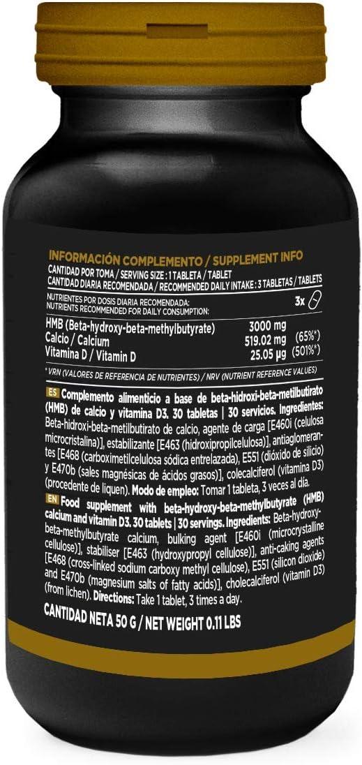 HMB de HSN Sports | Evohmb 1000 mg | Con Vitamina D | Anticatabólico, Ayuda a Ganar Masa Muscular, Recuperador, Ideal para Dieta de Definición | Vegano, Sin Gluten, Sin Lactosa, 30