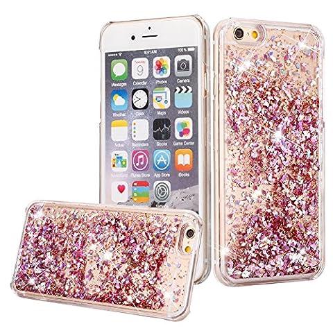 iPhone 5C Case, iPhone 5C Liquid Glitter Case,Phezen 3D Creative Design Shiny Quicksand Flowing Bling Glitter Sparkle Heart Clear Hard Case for iPhone 5C - Pink (3d Bling Cases For Iphone 5c)