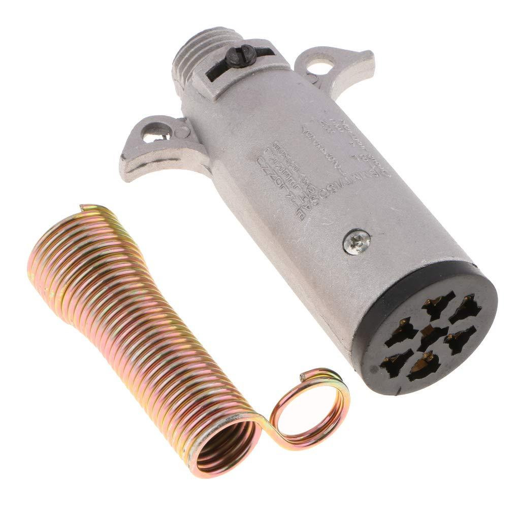 perfk 12N 7 PIN METAL PLUG RECEPTACLE -SEMI TRAILER TOWING ELECTRICS