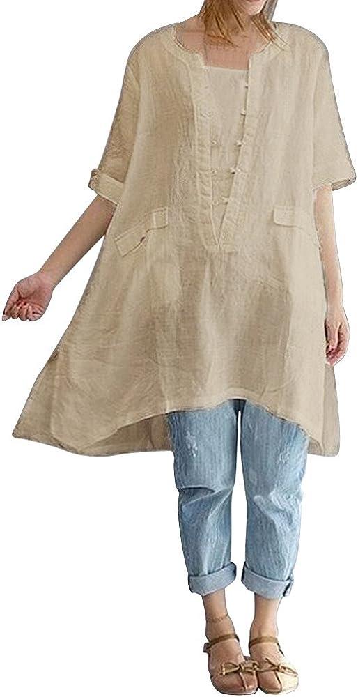 Weant T-Shirt Donna Bluse Camicie Donna Camicie T-Shirt Sportive Donna Abbigliamento Sportivo da Donna Taglie Forti Cotone Elegante Vestiti Estivi Manica Casual Tunica Magliette