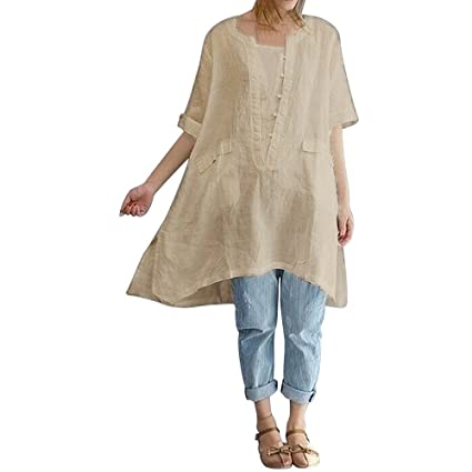 4fec255e518 Amazon.com  Birdfly Vogue New Front Knot Loose Light Breezy Cotton Linen  Tops Dress Shirt Blouse with Pocket for Women Plus Size 2L 3L 4L (4XL